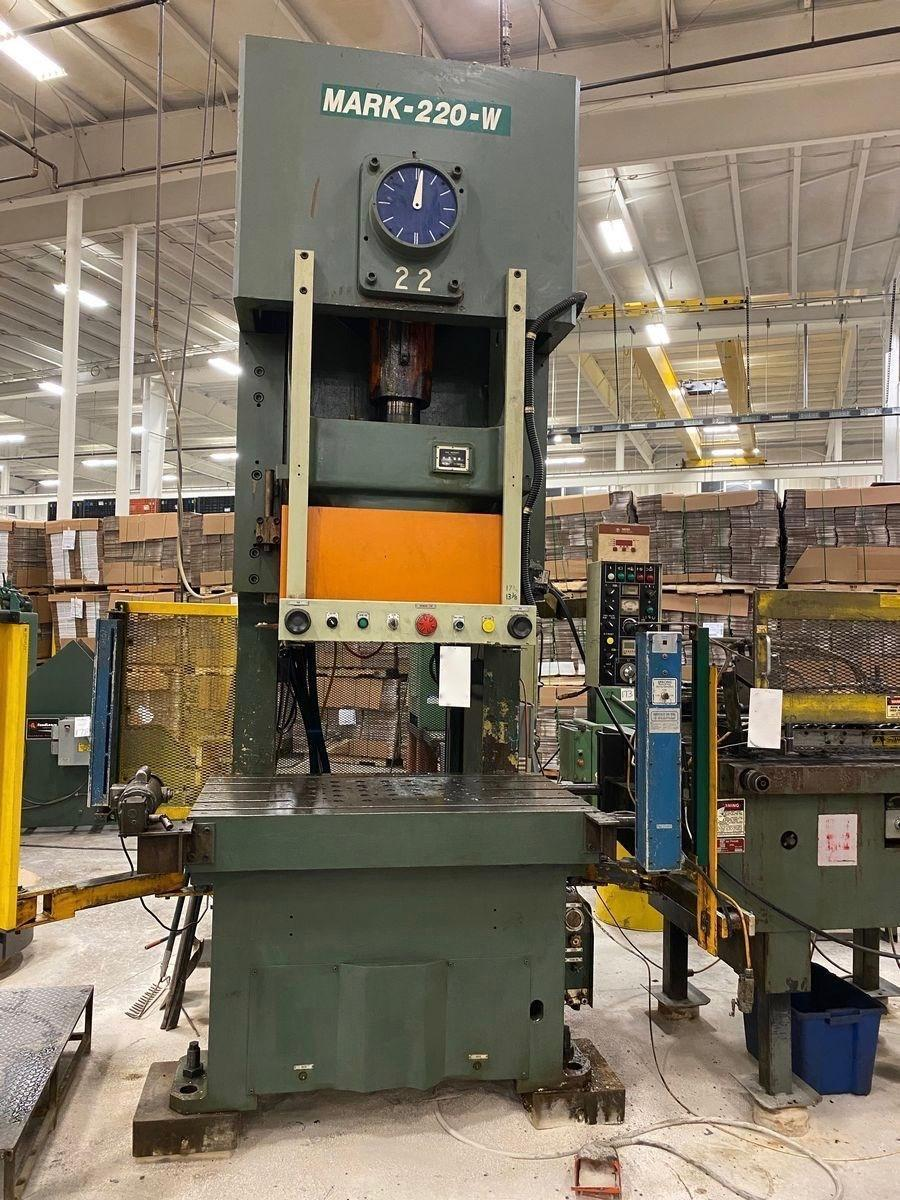 "220 TON SEYI GAP FRAME PRESS, MODEL MARK 220-W, 8.7"" STR, 17.7"" DIE HEIGHT, 4.3"" ADJ, 55.1"" X 33.1"" BA, 25-45 SPM VARI, 1997"