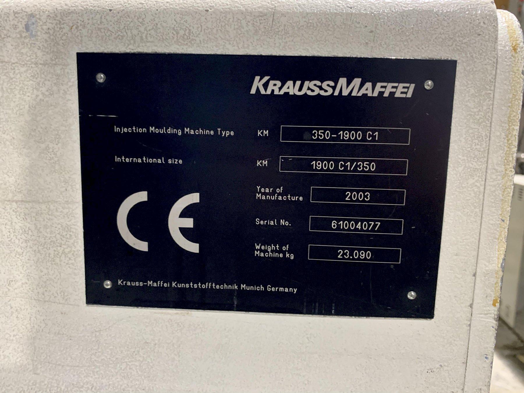 Krauss Maffei Used 350-1900 C1 Injection Molding Machine, 350 US ton, Yr 2003, 35 oz.