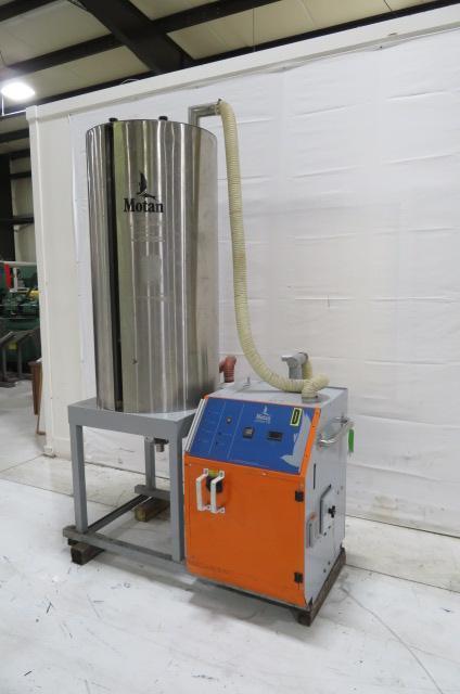 Motan Used Luxor TM 120 Material Dryer and Hopper, Desiccant, Approx. 100 lb/hr, 480V, Yr. 1999