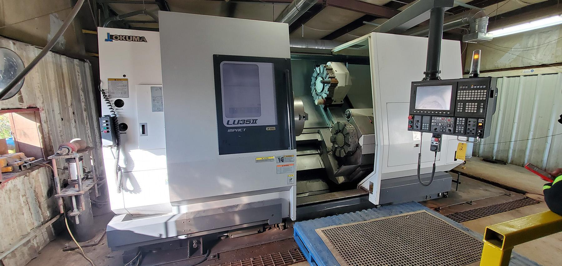 USED, OKUMA LU35-II SUPER BIG BORE FOUR AXIS CNC LATHE, 2000 hrs., 