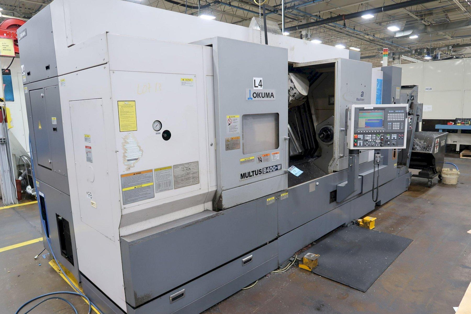 "Okuma Multus B400W (6) Axis CNC Lathe, OSP-200L, 15"" Chuck, 4.33"" Bar Cap, Milling, 40 ATC, Prog T/S, Probing, CTS, 28"" Swing, 60"" Centers, Low Hours, 2010 (2 Avail)"