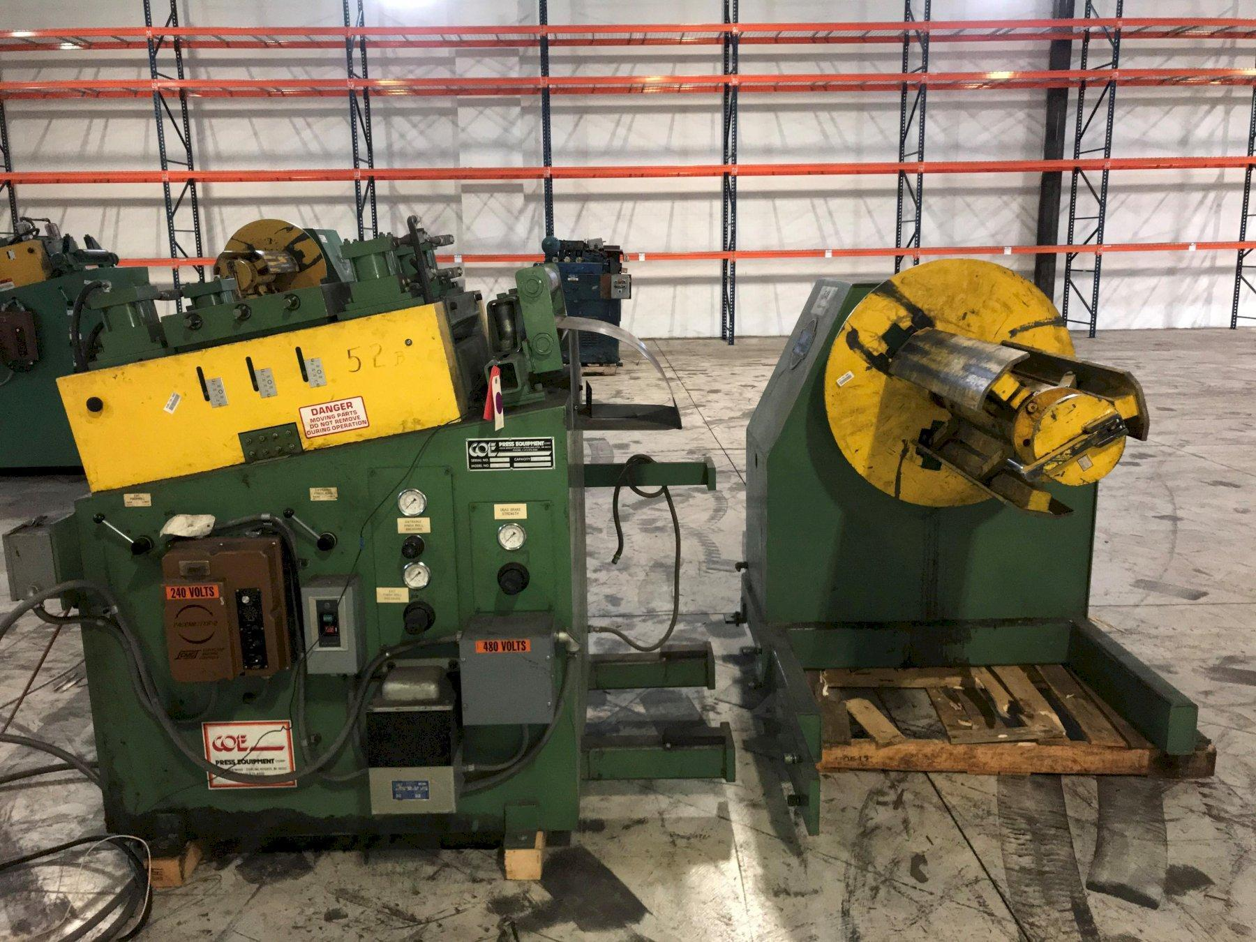 Coe Press Coil Reel Uncoiler and Powered Coil Straightener 8,000 Lbs.