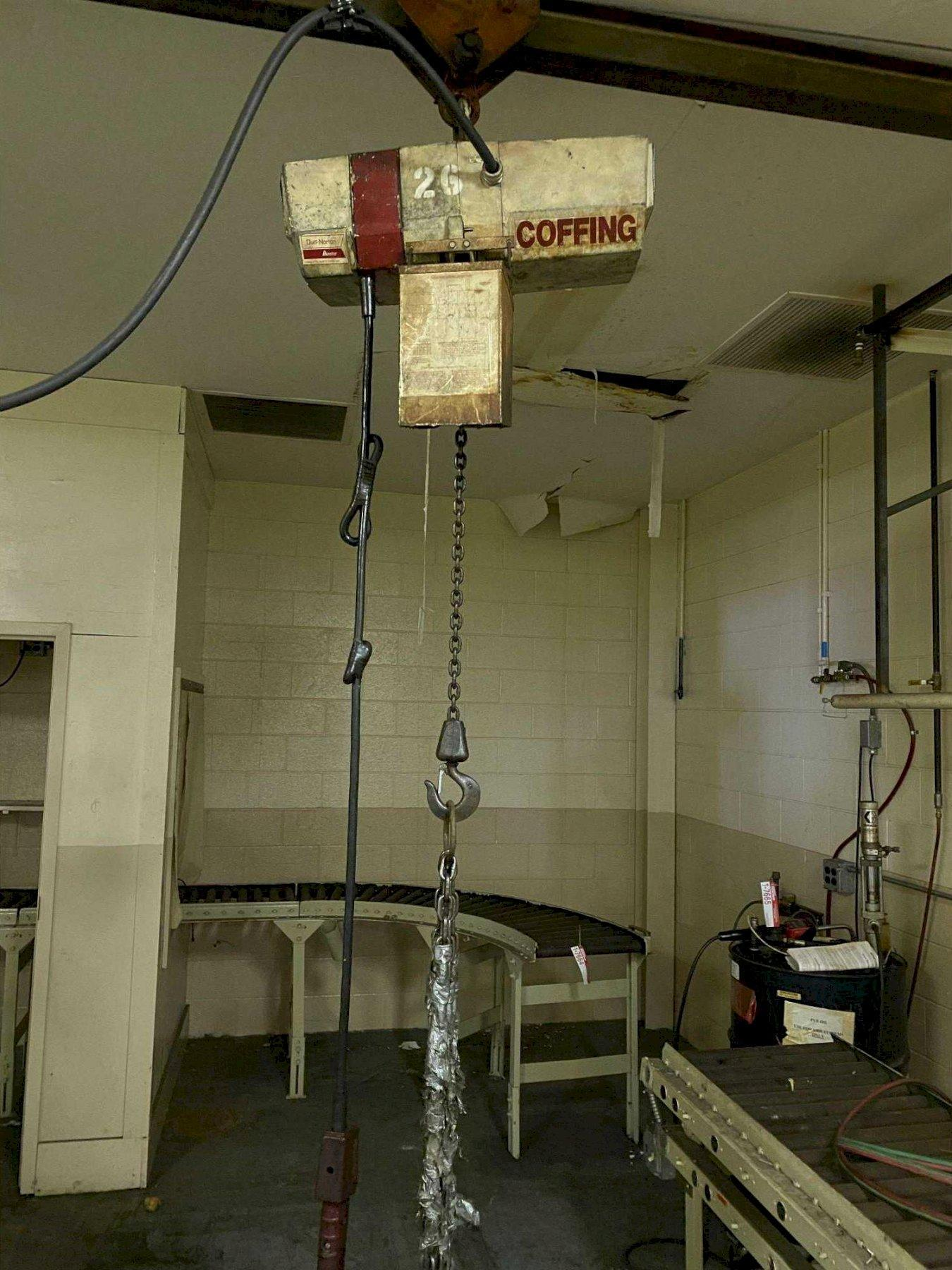 1/4 TON COFFING ELECTRIC CHAIN FALL HOIST. STOCK # 0958721