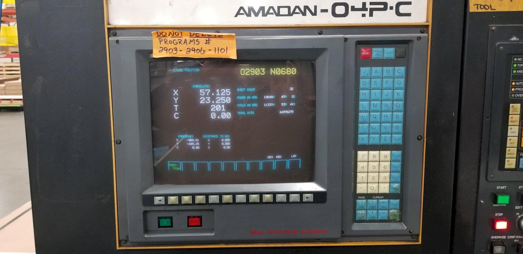 """1989 Amada Pega244, 22 Ton, 40"""" x 40"""" Travel, CNC Turret Punch"""