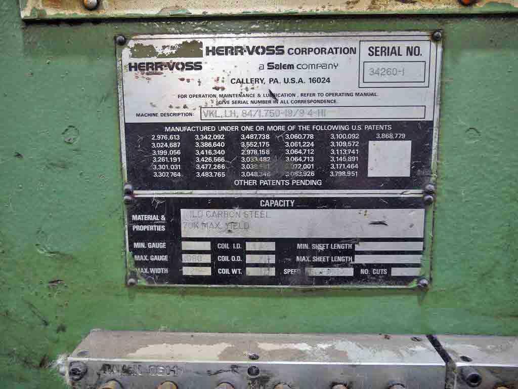 "72"" x 0.250"" x 50,000# Herr Voss Cut To Length Line"