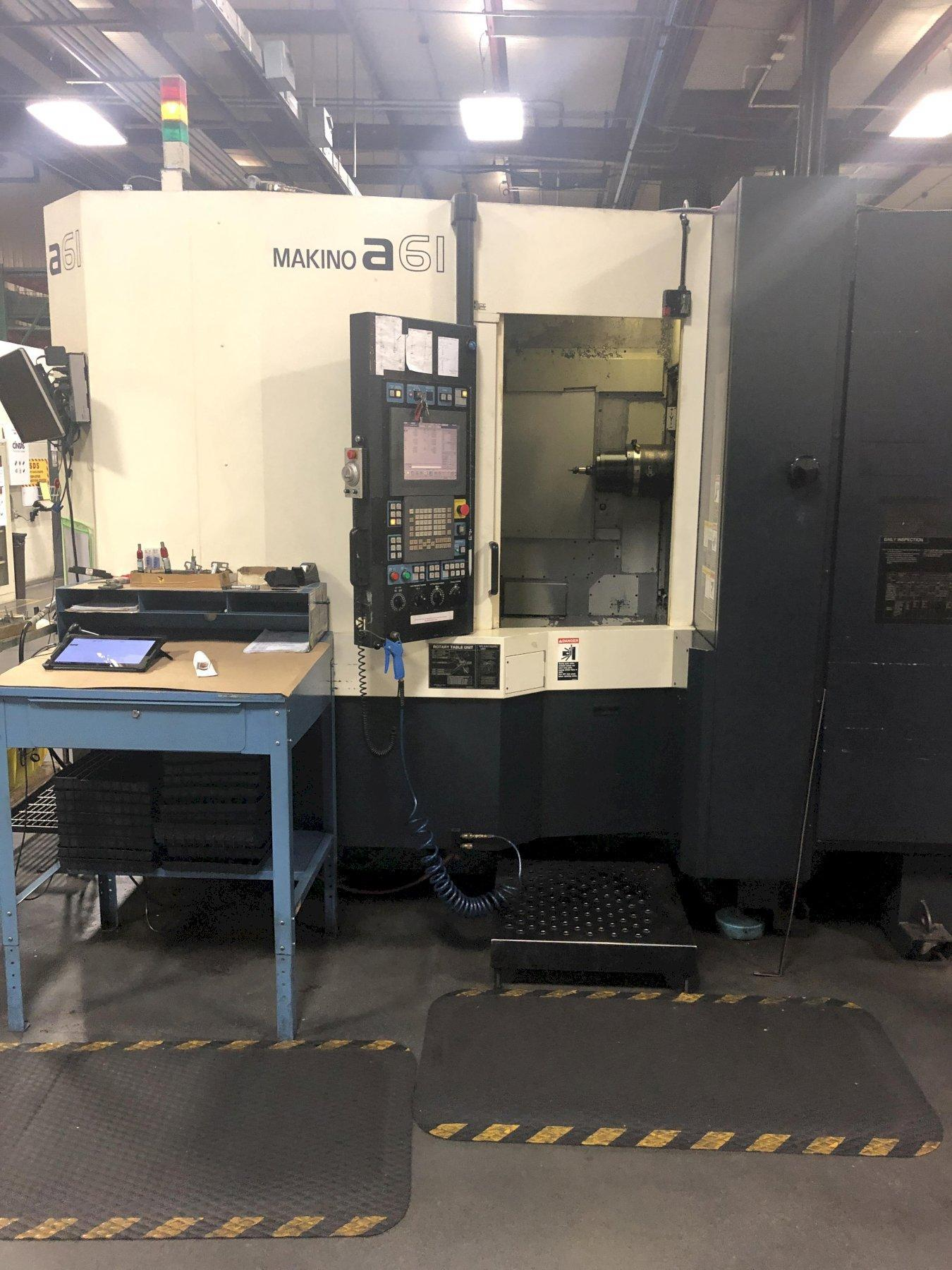 "Makino A61 CNC Horizontal Machining Center, Fanuc Pro 5, 12K Spindle, 19.7"" Pallets, 29""/26""/29"" Travels, CT40, Coolant Thru Spindle, 30 HP, Data Ctr, 4th Axis Positioning, Chiller, 2007"
