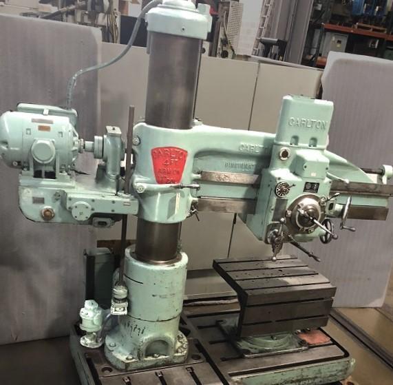 "4' x 11"" CARLTON RADIAL ARM DRILL, Model 1A, 4' Arm Length, 11"" Column, Power Clamping, L-Base Extension, Universal Box Table."