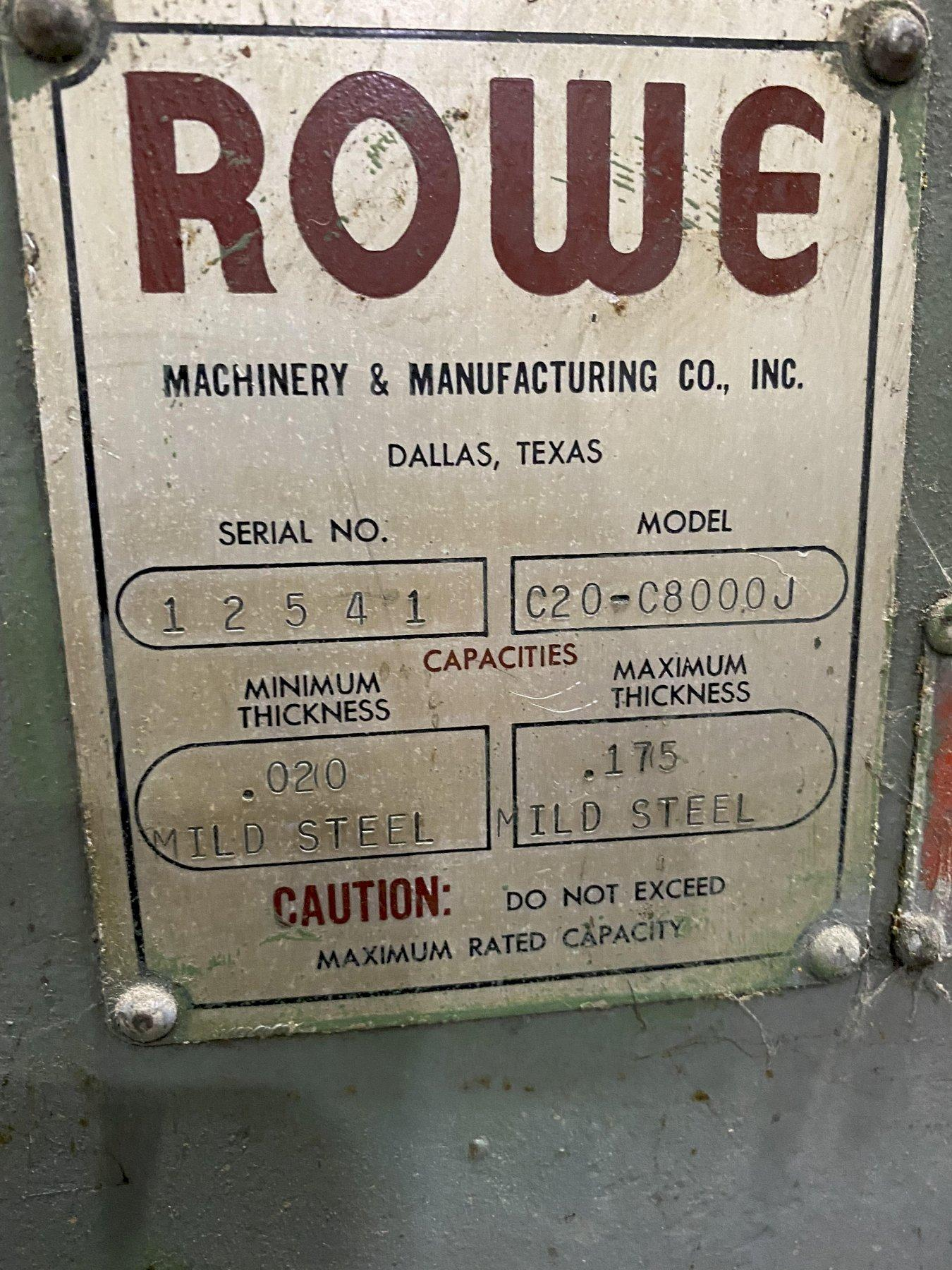 "8,000 LB x 20"" ROWE CRADLE STRAIGHTENER"