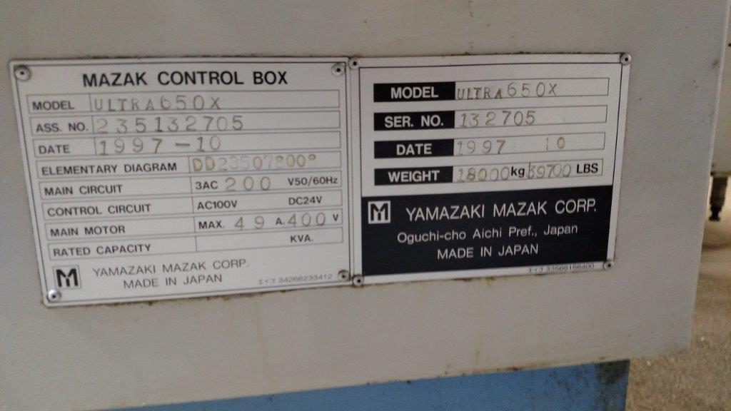 "MAZAK ULTRA 650, Mazatrol M-Plus CNC, (2) 24.8"" x 24.8"" Pallets, X=40"", Y=31.5"", Z-31"", 80 ATC, 7000 RPM, Full 4-Axis Pallet Rotation, 1997."