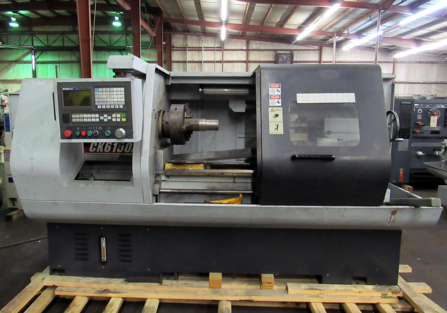 "USED, 26"" X 40"" ZHEJIANG MODEL CK6150A FLAT BED CNC LATHE WITH GSK 928TEa CNC CONTROL"