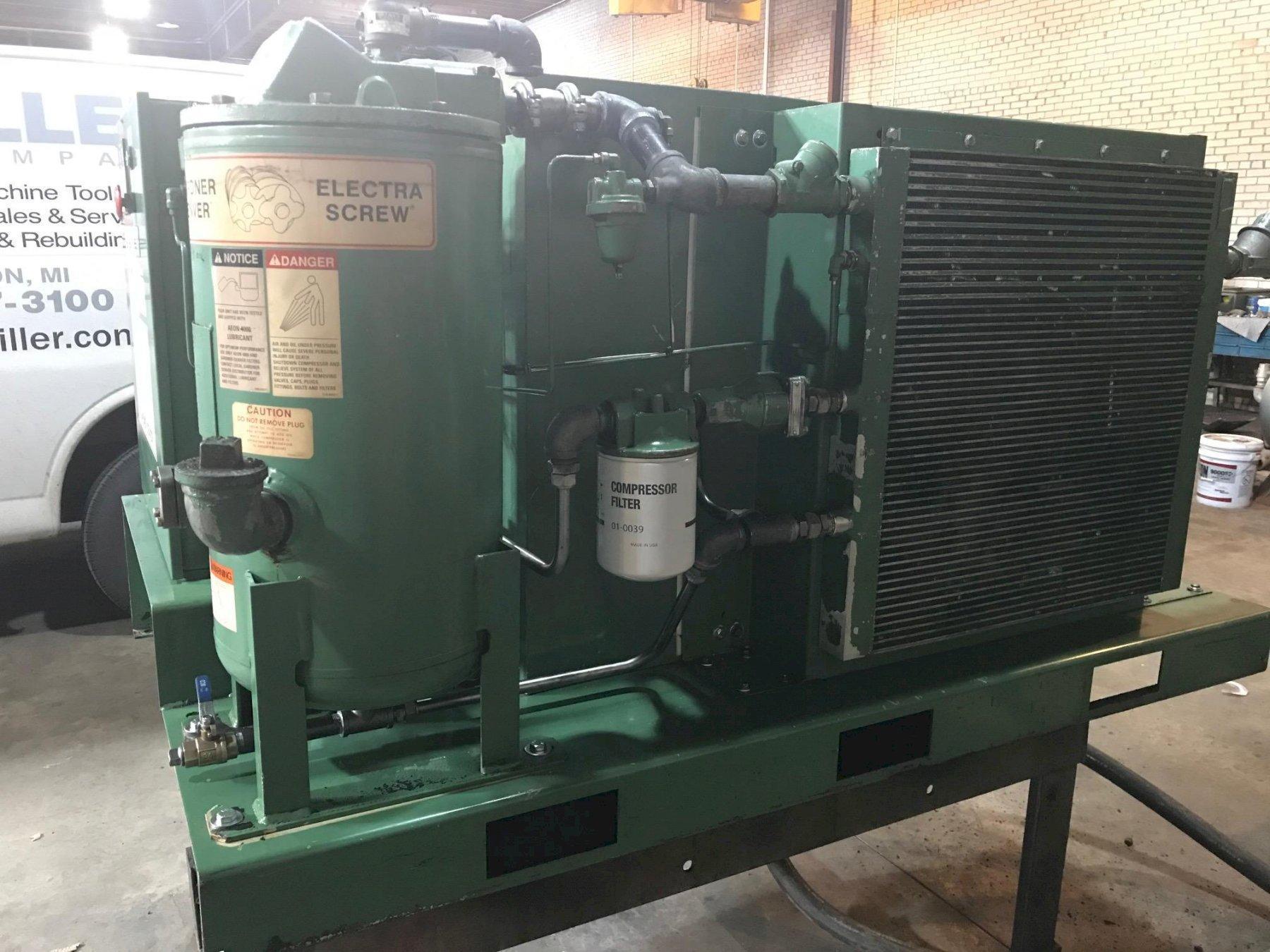 50 Hp Gardner-Denver Rotary Screw base mount air compressor, rebuilt air-end