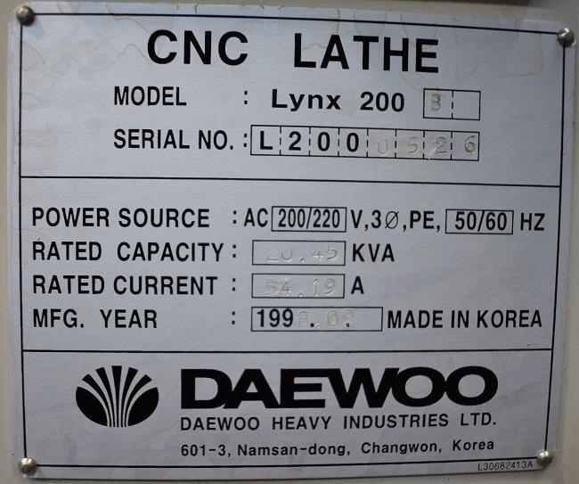 "DAEWOO LYNX 200B, Fanuc 21 CNC Control, 8"" 3 Jaw Hydraulic Chuck, 8"" Max Cutting Diameter, 12"" Max Cutting Length, 2"" Bar Capacity, 3500 Max Spindle RPM, 12 Station Turret, Chip Conveyor, New 1998."