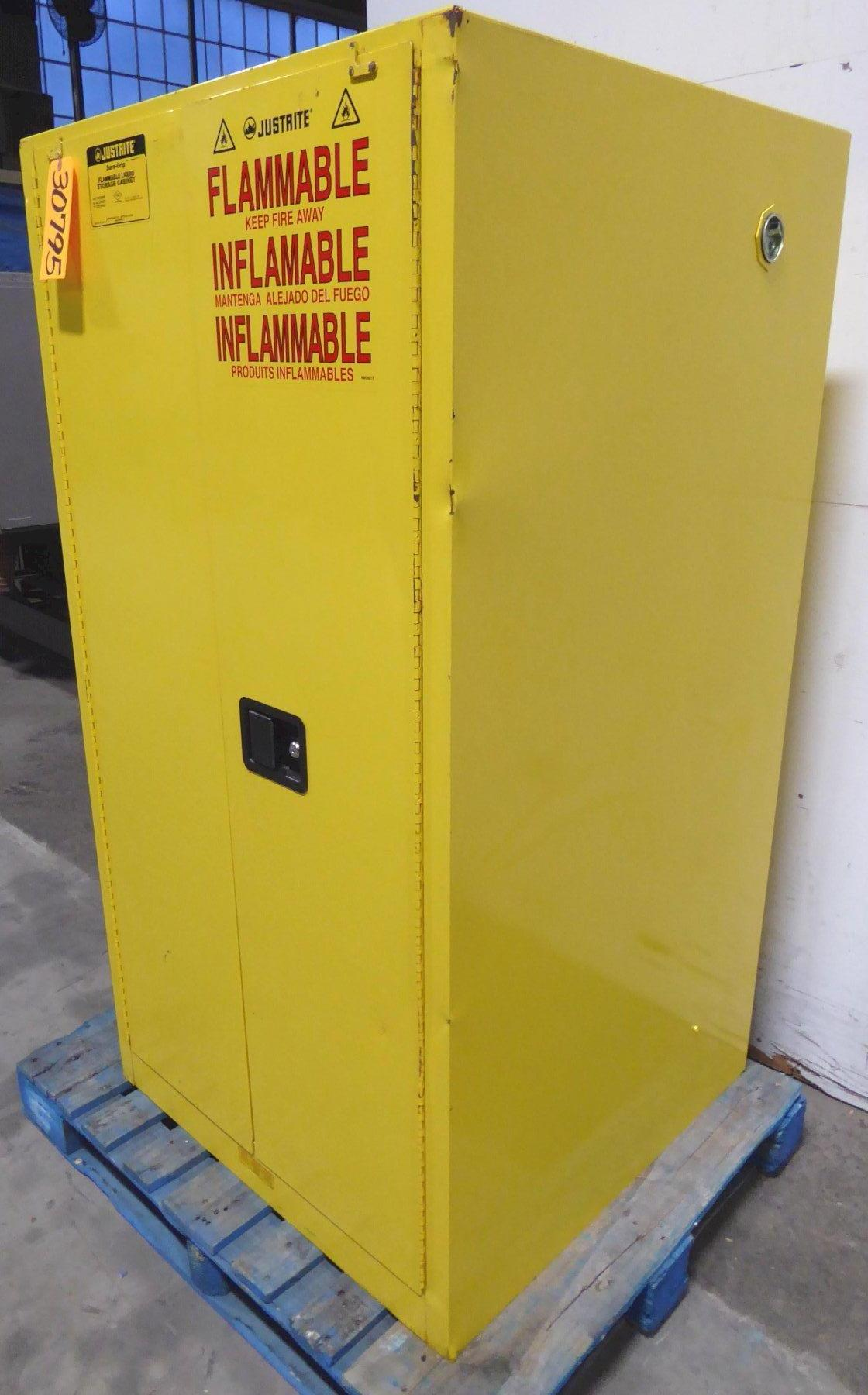 "Justrite Flammable Storage Cabinet Model SC29602, 45 Gallon Capacity, (2) Adjustable Shelves, Double Door, 34"" x 34"" x 65""H, Nice"