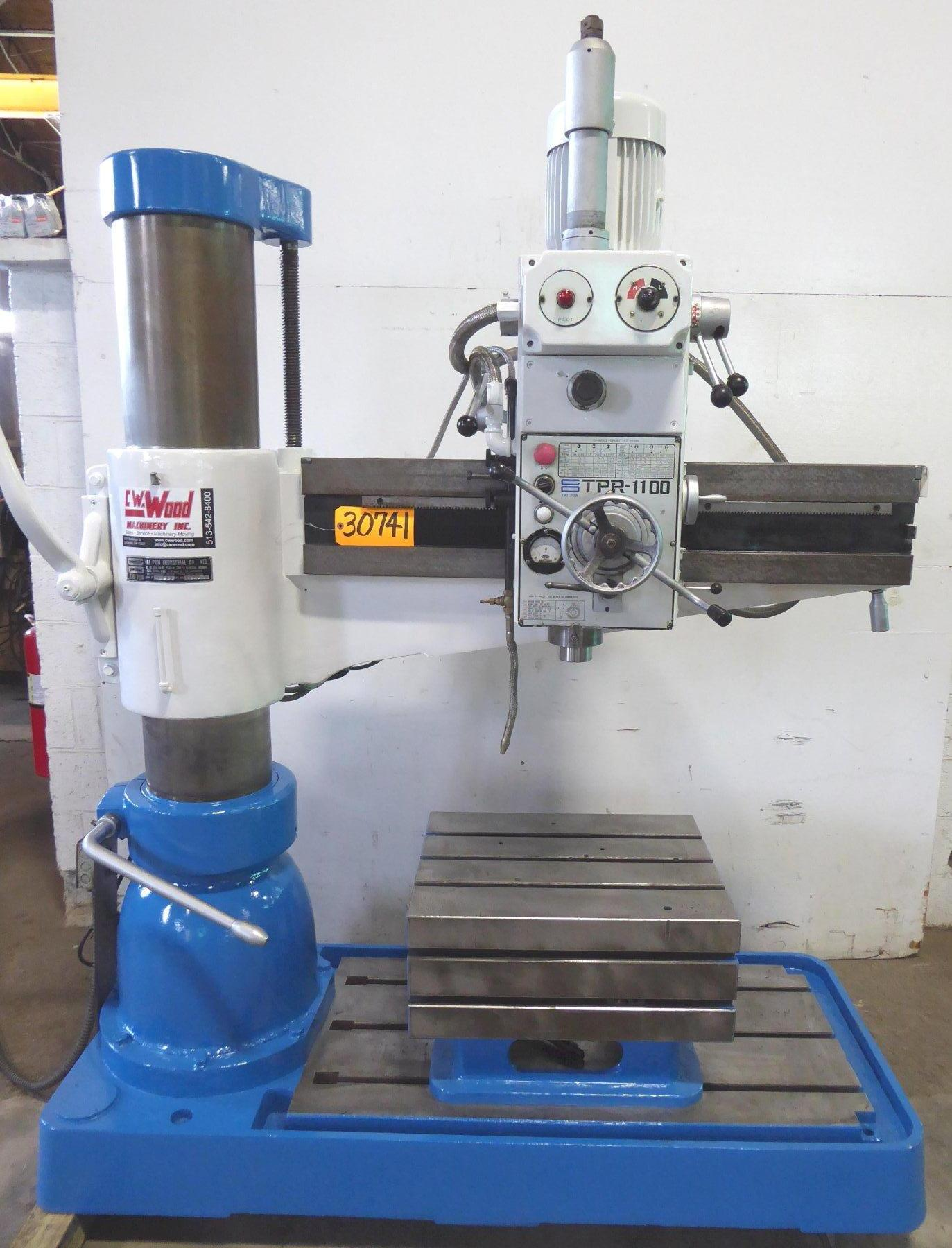 "4' x 9"" Tai Piin Radial Drill Model TPR-1100, 44-1500 RPM, 4 M.T., Box Table, 3 HP, Clean"