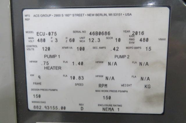 AEC Used ECU-75 Mold Temperature Controller, 0.75hp, 9kw, 480V, Yr. 2016