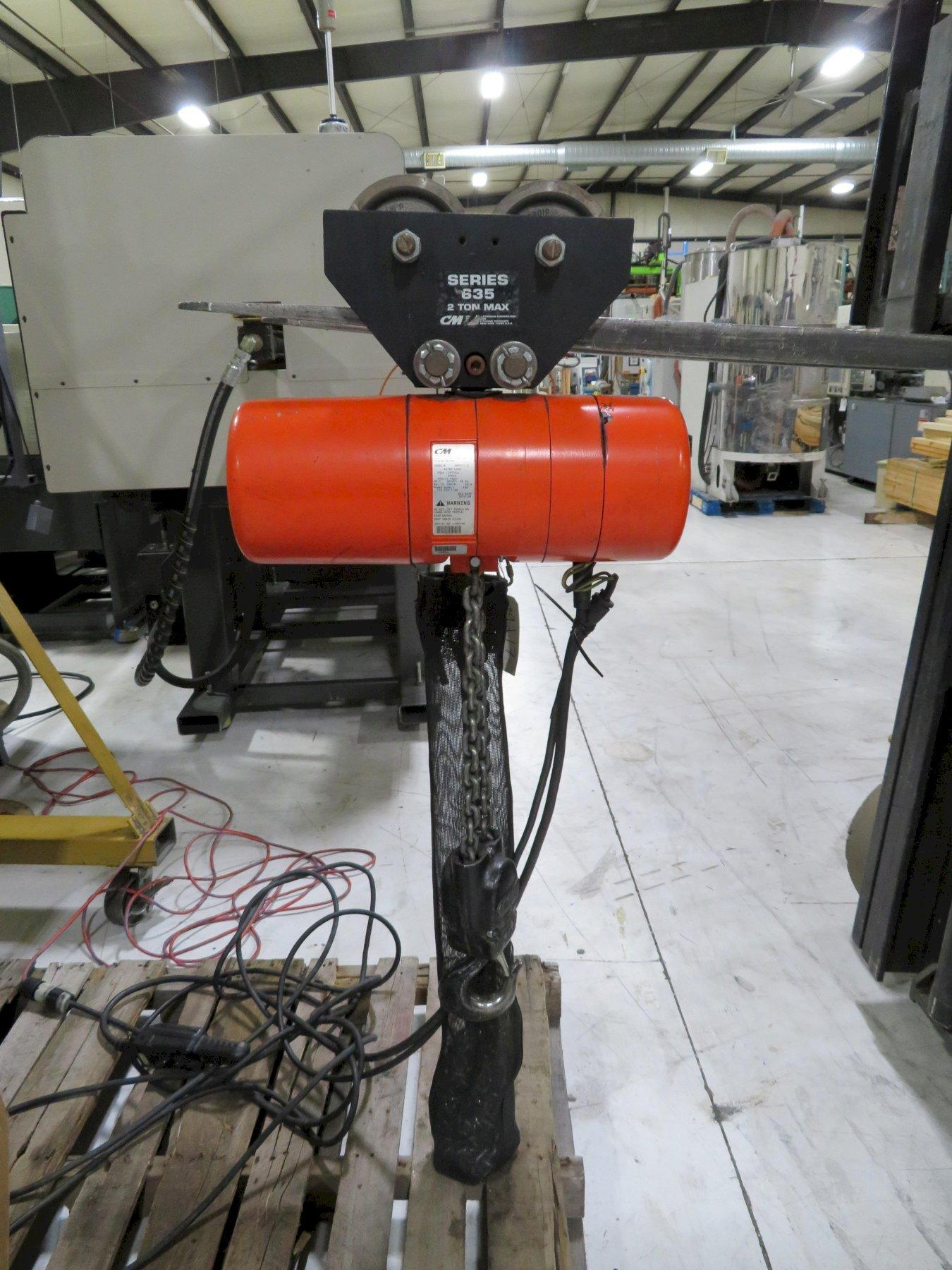 Used CM Lodestar 2 ton Hoist and Spanco Portable Gantry Crane, 110V