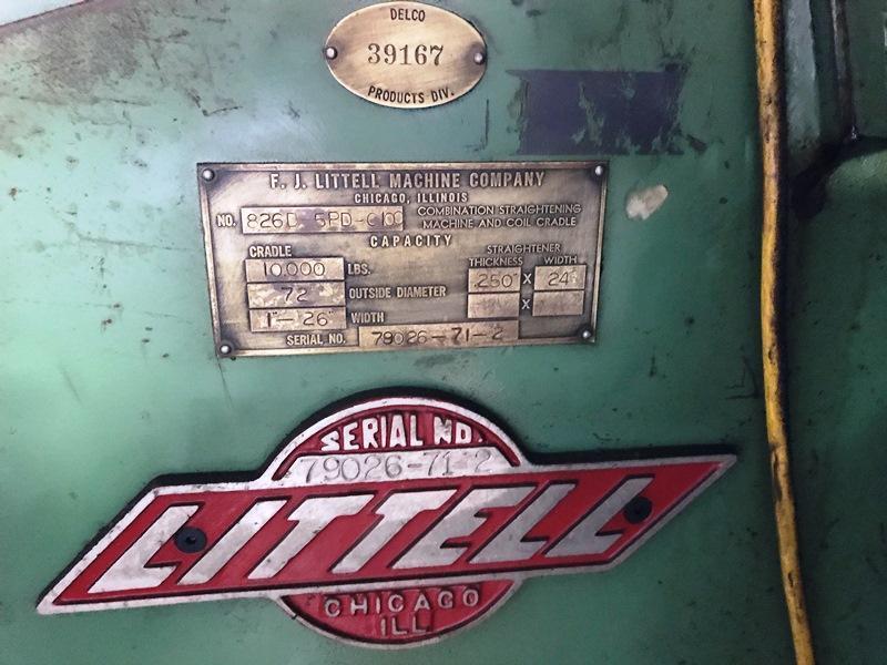 "10,000 LBS X 26""  LITTELL MODEL #826-5PD-C100 COIL CRADEL & STRAIGHTENER: STOCK #14906"