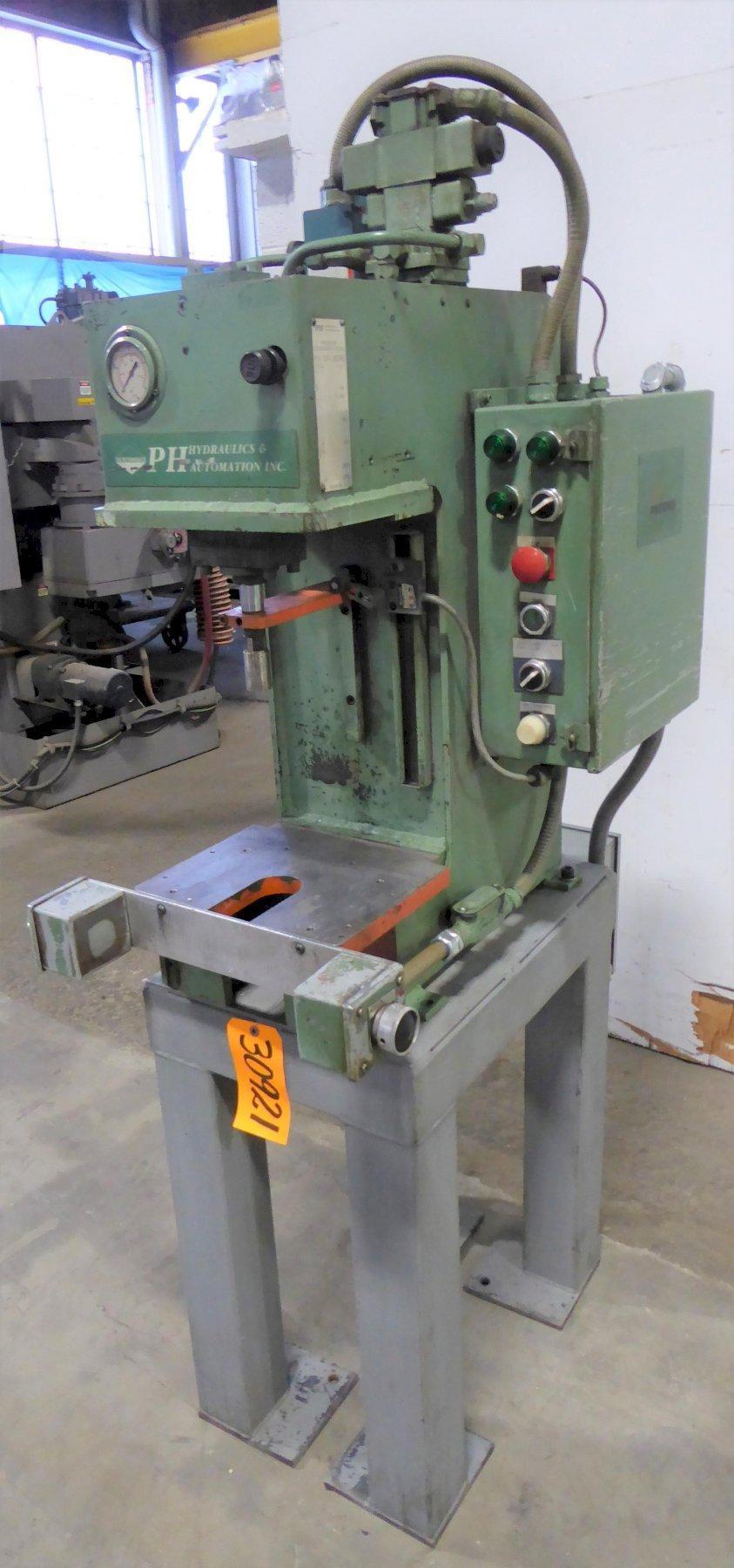 2 Ton PH Hydraulics Gap Frame Hydraulic Press PHN-2, 6″ Str., 12″ D.L., 12″ x 10 Bed, 2 HP
