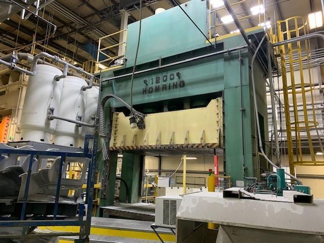 """1200 ton Hom Ring Hydraulic Press, 1200-156"""" x 90"""", New 2005, REBUILT!"""