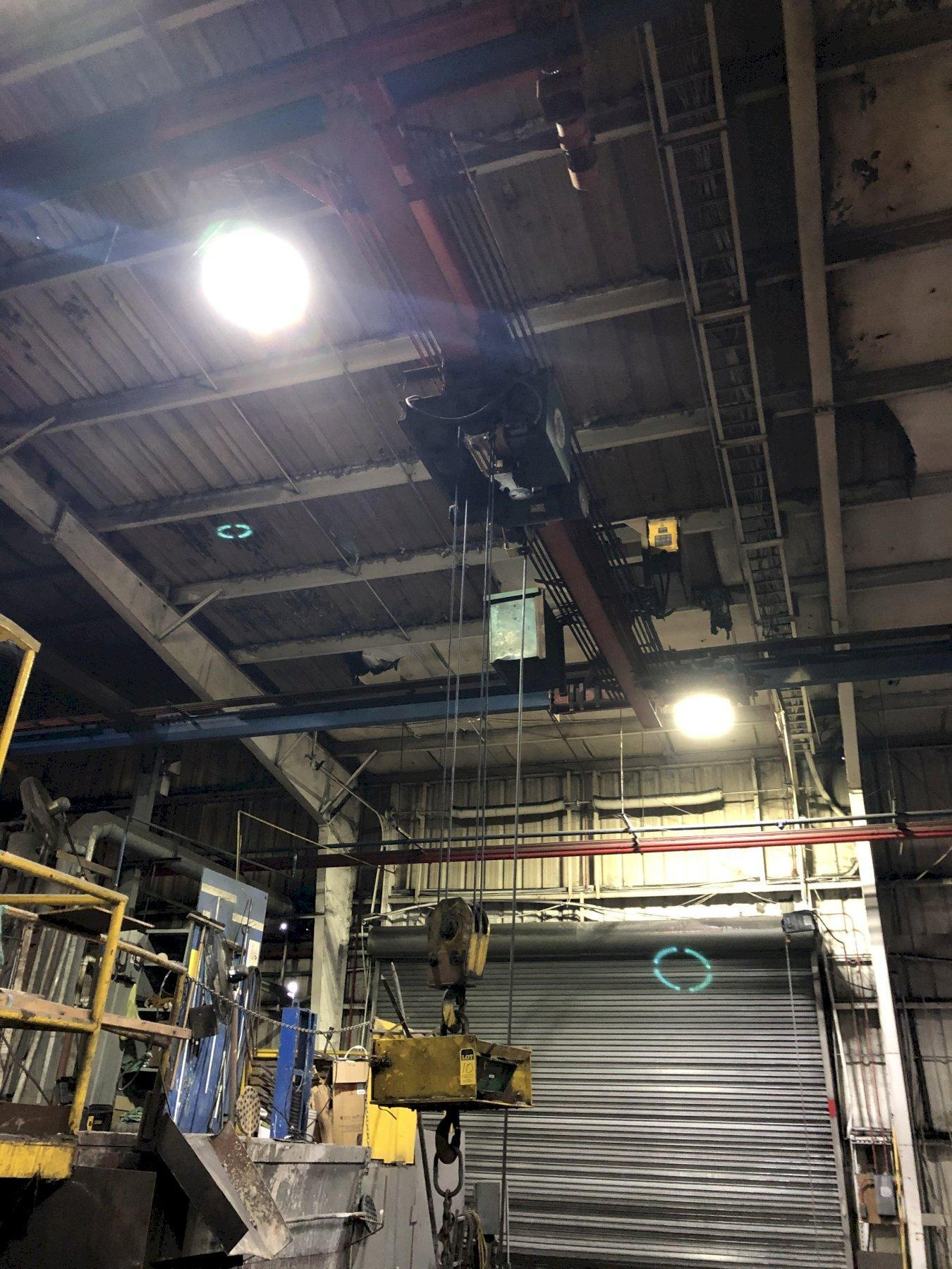 UNDERSLUNG APPROX. 25' SPAN BRIDGE CRANE WITH COFFING 5 TON HOIST AND SCALE, REMOTE CONTROLS PRICED WITH TAG#3