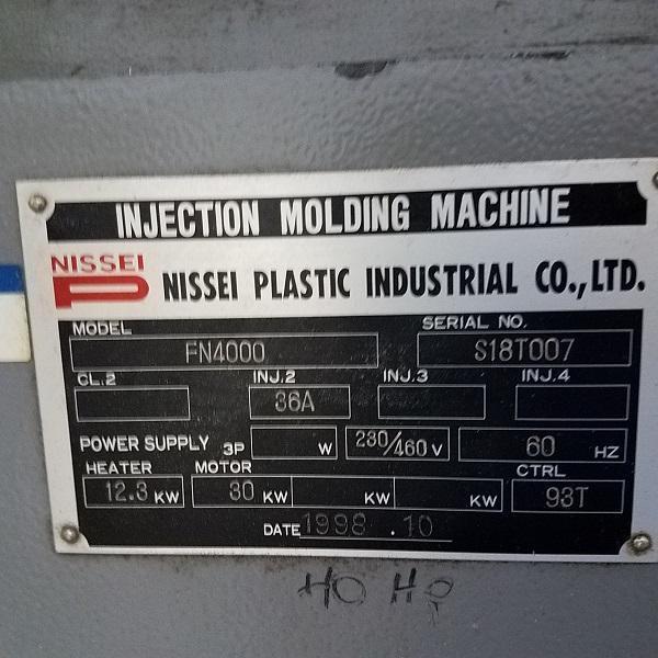 Nissei Used FN4000-36A Used Injection Molding Machine, 197 US ton, Yr. 1998, 14.9 oz. 460V