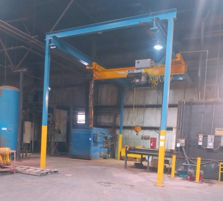 5 TON X 18' SPAN MHS/SHAW BOX UNDERHUNG FREE STANDING CRANE SYSTEM: STOCK #14235