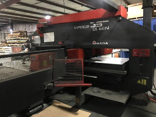 Amada 357 Vipros CNC Turret Punch with: Fanuc O4PC CNC Control, Table Roller, AC Servo Drive Motors, and Automatic Repositioning (2) Auto Indexing Stations.