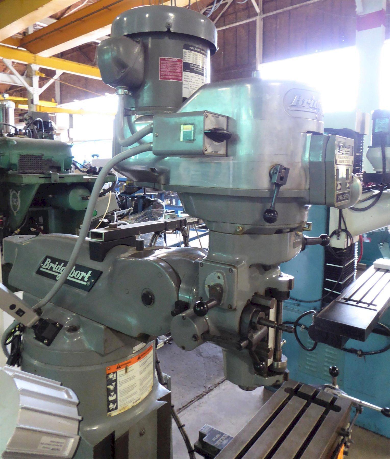 "Bridgeport Vertical Mill Series I, 9"" x 48"" P.F. Tbl., 2 HP V-Speed, DRO, Nice"