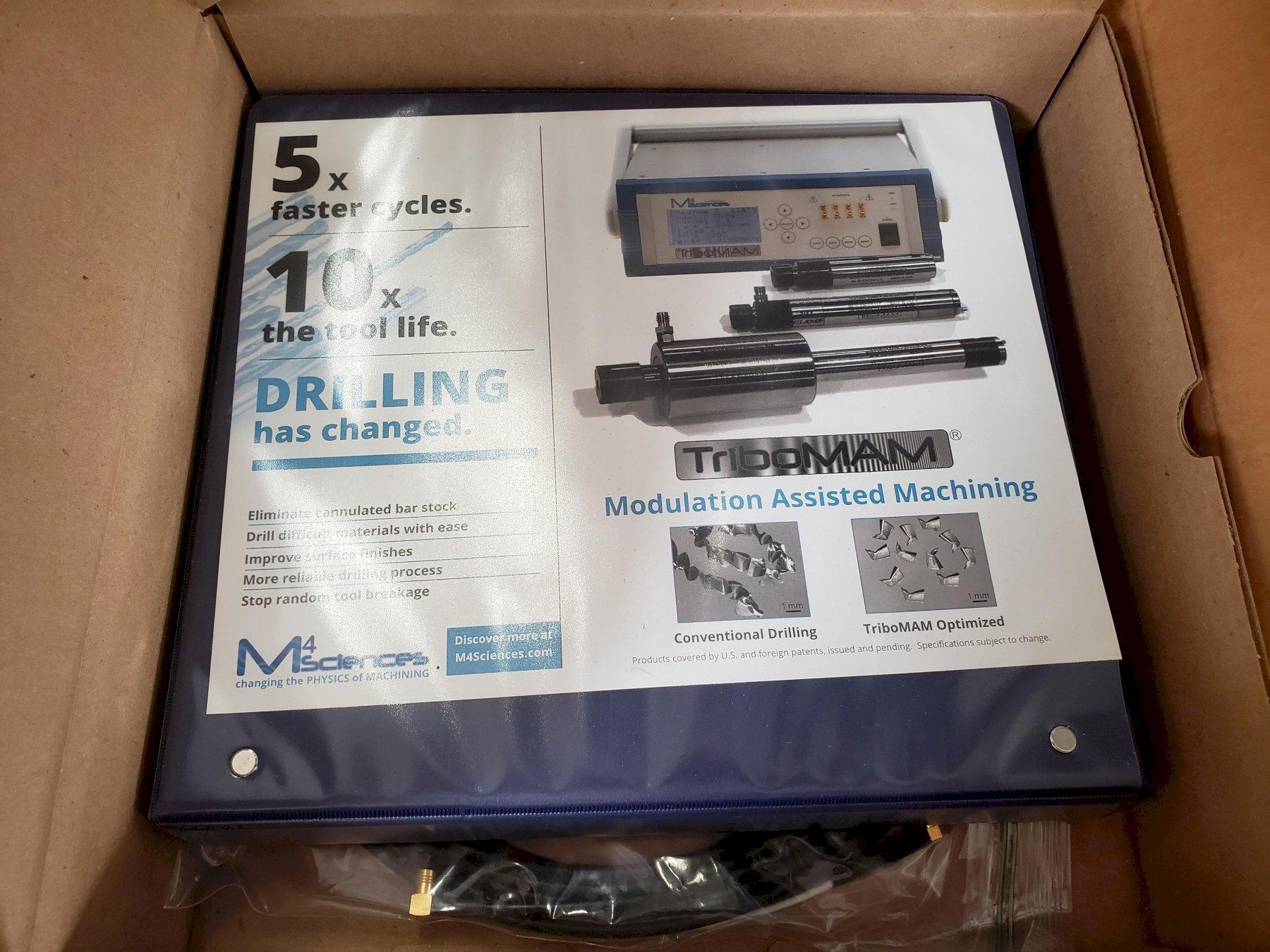 M4 Sciences TriboMAM Mini Drilling System 2017 with MEC11033 Micro-Embedded Controller, ER-11 Collet Nose, and High Pressure Coolant Package.