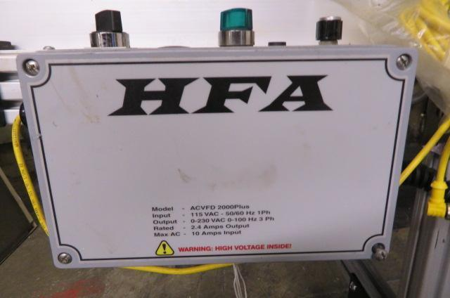 HFA Used 2210 Variable Speed Horizontal to Incline Conveyor, Yr. 2019, 18 in wide x 8 ft long, 115V