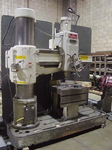 "5' 13"" IKEDA RADIAL DRILL, Model RM-1575, 5' Arm Length, 13"" Column Diameter, T-Slotted Base, Box Table, Vise, Tapping, Threading, Power Rapids, 7.5HP, New 1978."