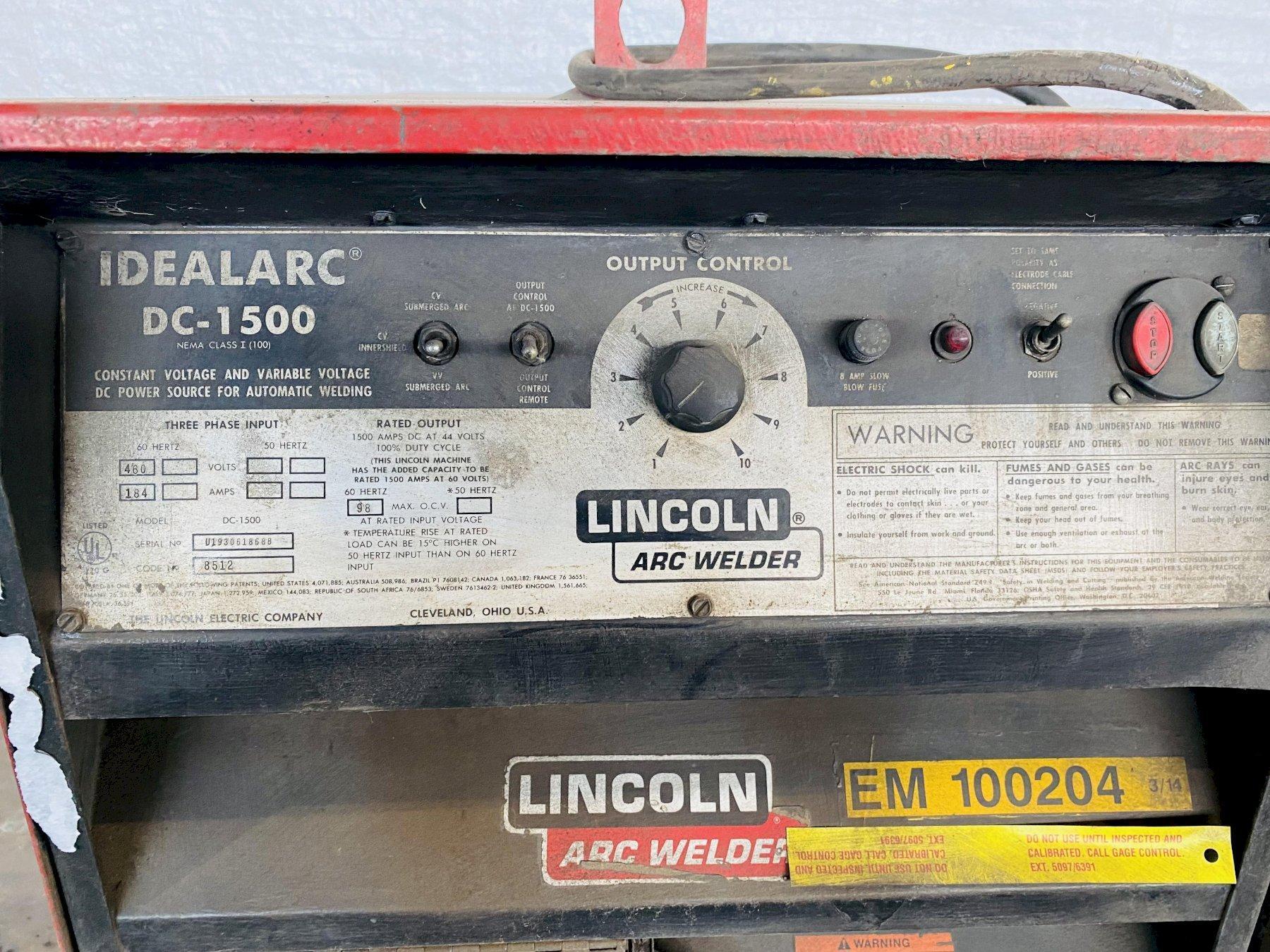1500 AMP LINCOLN IDEALARC DC-1500 WELDER. STOCK # 0631021