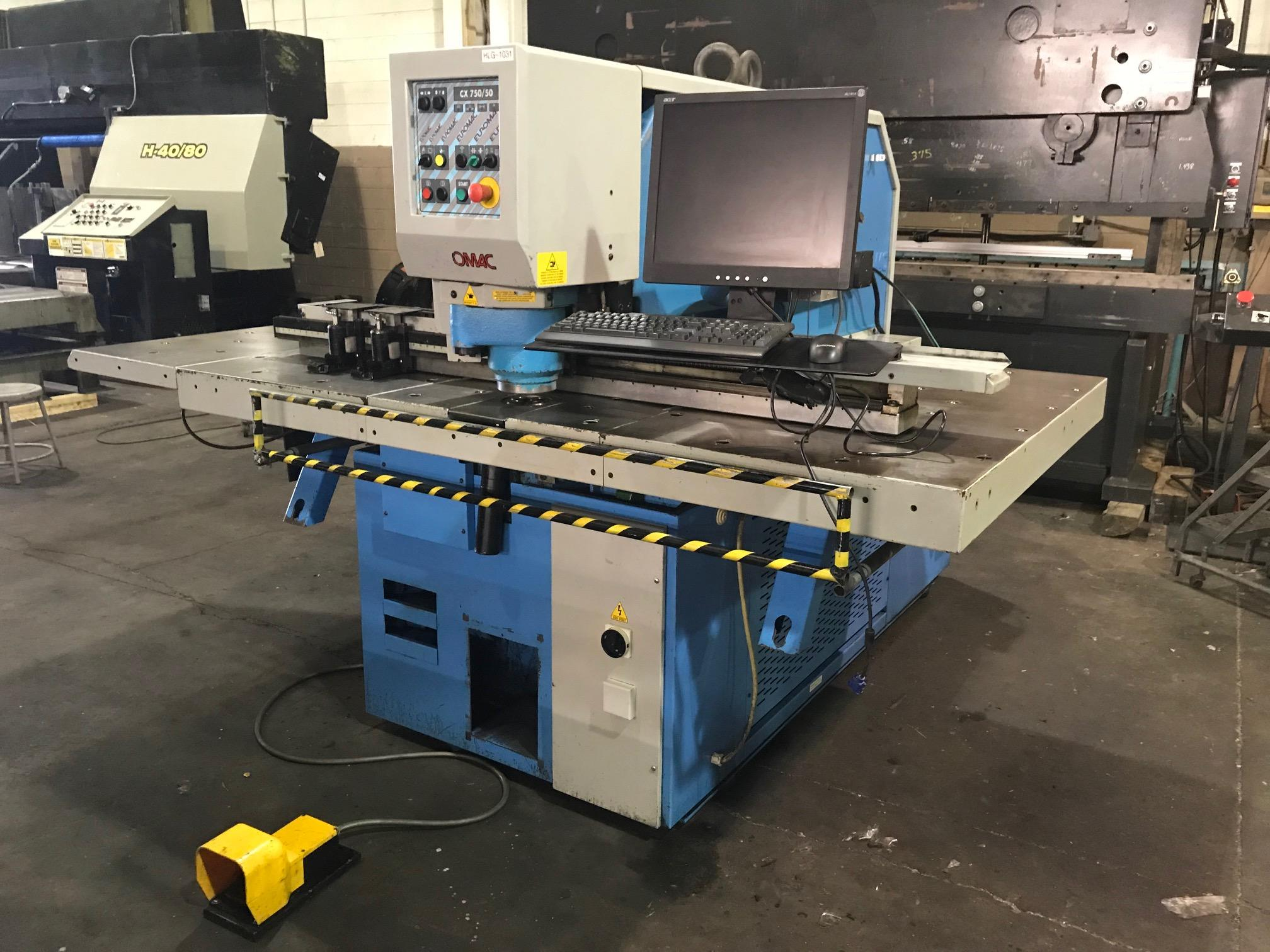 USED EUROMAC HYDRAULIC CNC PUNCHING MACHINE, Model CX 750/50-1250, 55 Tons, Stock No. 10607, Year 2000