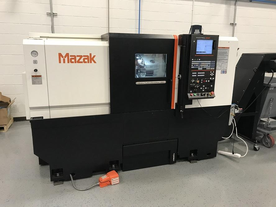 "Mazak QTU-250 CNC Lathe, SMART Control, 10"" Chuck, 23.6"" Centers, 20 HP, 12 Position Turret, Optional 2.5"" Bar Capacity, C/C, Holders, Probe, 84 Hours Cutting, 2015"