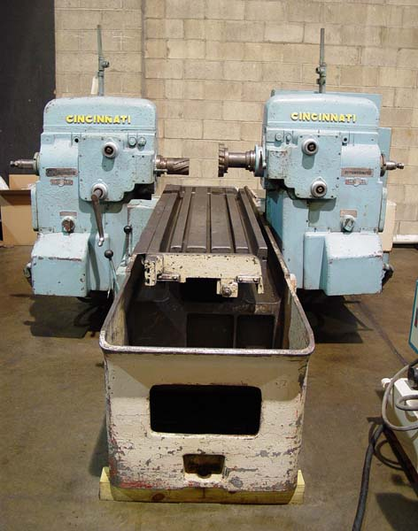"""CINCINNATI 310-183 Duplex Production Mill, Model 310-183, 18"""" x 68"""" Table, (2) 10 HP Heads, 50 Taper, 1200 RPM, 1957."""