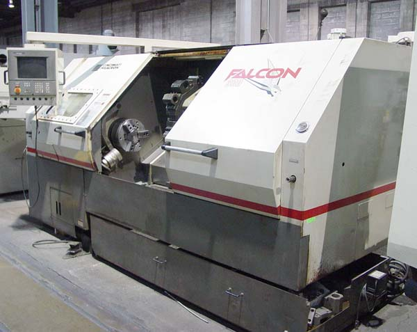 """CINCINNATI FALCON 300-100, Acramatic 2100 Control, 25"""" Swing, 18.8"""" Swing over the Carriage, 12"""" 3-Jaw Power Chuck, Tool Setter, Tailstock with 40"""" Centers, New 1997."""