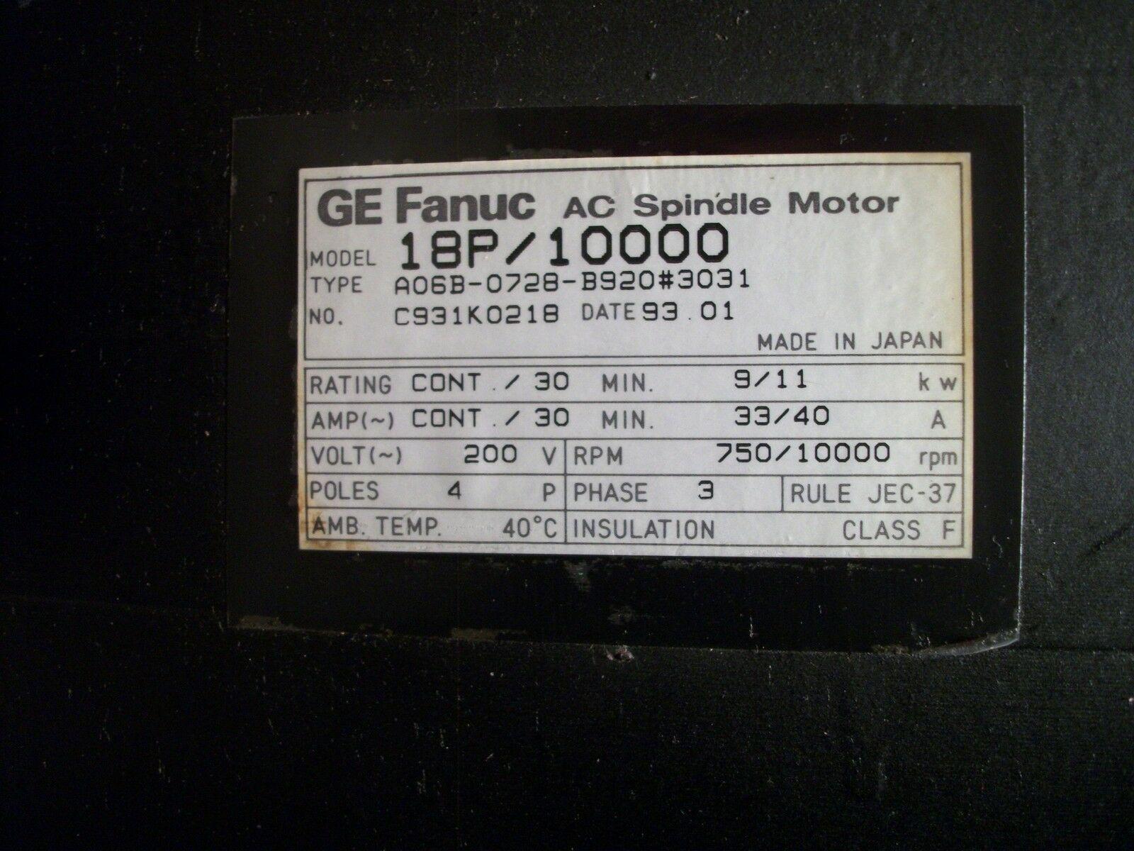 Fanuc Spindle Motor Model 18P/1000 A06B-0728-B920 #3031