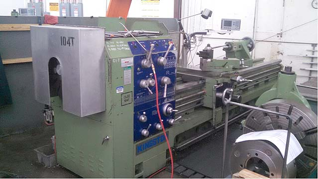 """29"""" x 120"""" KINGSTON Oil Country Lathe, Model 29HB, 29' Swing over Bed, 19.8"""" Over Cross Slide, 41"""" Swing in the Gap, 120"""" Centers, 6"""" Spindle Bore, Front and Rear Chucks, Threading, New 2008."""