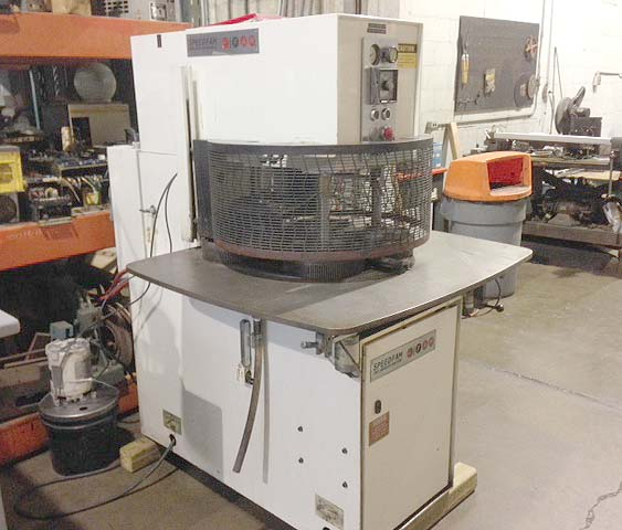 """24"""" SPEEDFAM, Model 24STAW, (4) Pneumatic Hold Downs, 9"""" Retainer Rings, Water Cooled, Tooling, New 1993."""