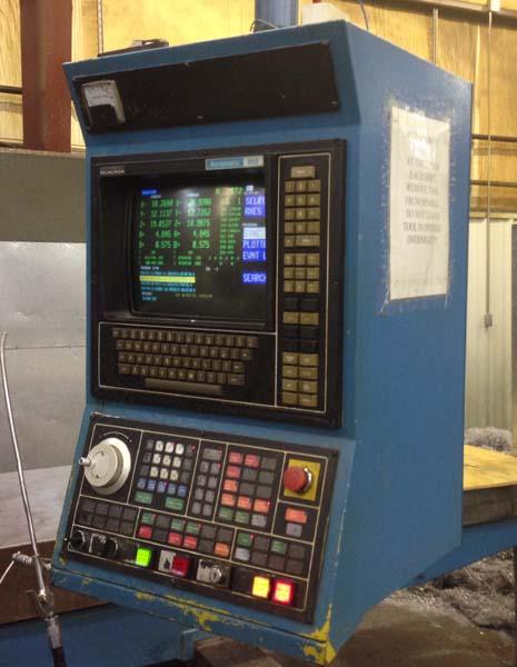 """CINCINNATI MILACRON 20V120 5-Axis, Acramatic 950 CNC Control, 124"""" x 30"""" Table, X=120"""",Y=30"""",Z=24"""",A & B +/- 25 Degree, New 1986."""