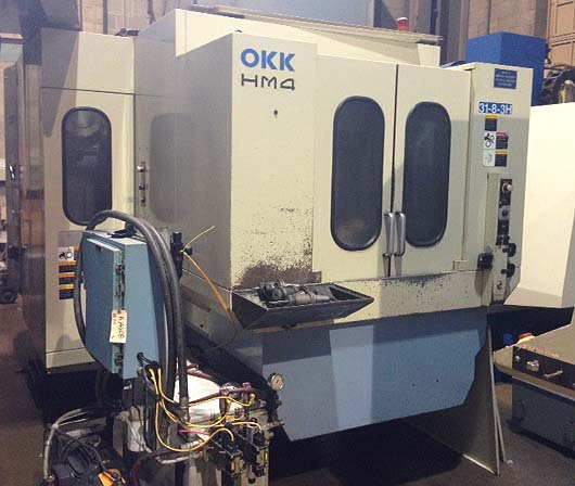 "OKK HM-4 Fanuc 21iM CNC, (2) 16"" Pallets, X=22"" Y=20"", Z=20"", 1 Degree Indexing Pallet Rotation, Thru Spindle Coolant, Cat-40, 10,000 RPM, New 2002."