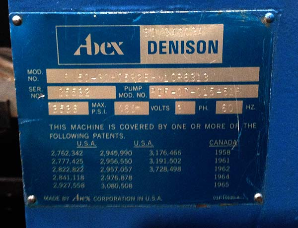 "50 TON DENISON C-FRAME PRESS, Model FN-50, 50 Ton Capacity, 31"" x 20"" Bed, 15"" Stroke, 24-1/4"" Maximum Daylight, Rapid Advance, Super Nice from Aerospace, New 1977."