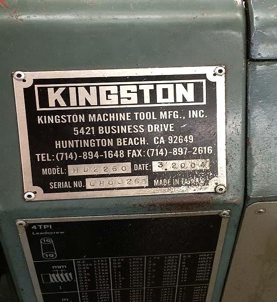 "22"" x 60"" Kingston Lathe, Model HD2260, 22"" Swing, 12"" Chuck, 13"" Swing Over Cross, Readouts, Inch/Metric Threading, New 2004."