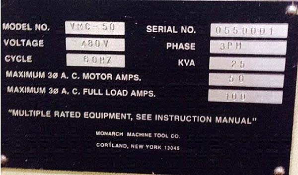 "MONARCH VMC-50, Fanuc 18iMB CNC Control, 56"" x 27"" Table, X=51"", Y=25.6"", Z=27"", 50 Taper, 4000 RPM, Midaco `add-on' Pallet Shuttle, New 2007."