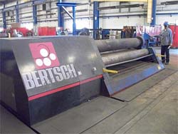 "10' x 3/4"" Bertsch 4-Roll Hydraulic Plate Bending Roll, Model 75-10, Double Pinch, Power Drop End, New 2008."