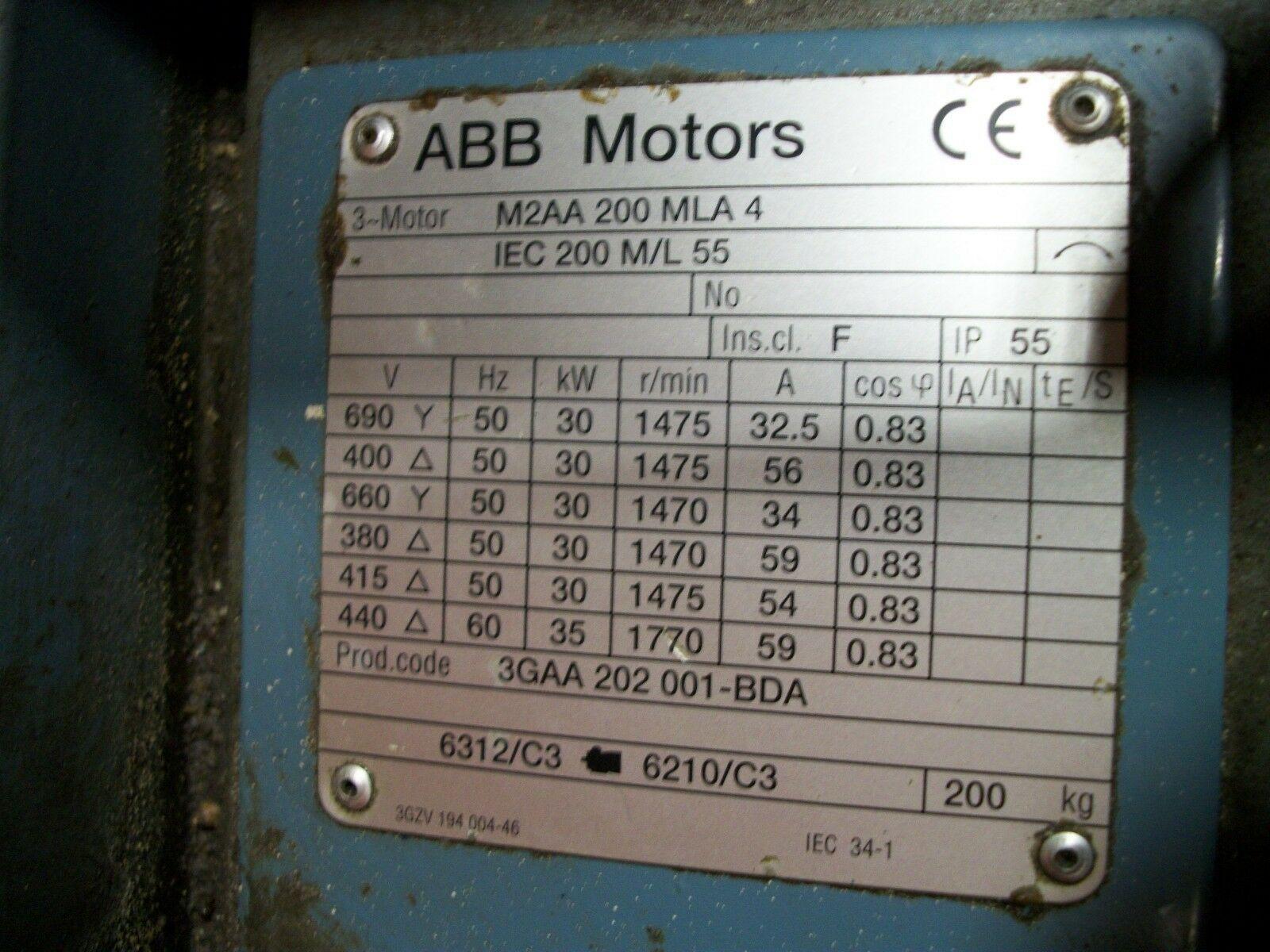 ABB 35KW Motor M2AA200MLA4, IEC 200 M/L55, Code 3Gaa202-001-BDA 440 Volt