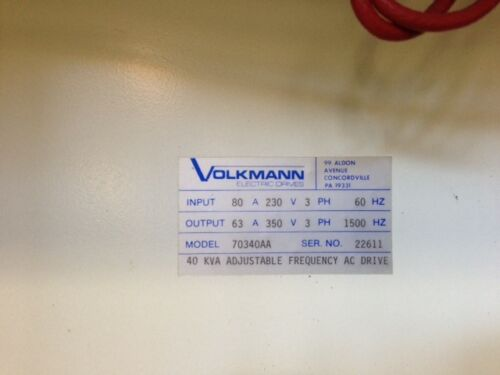Volkmann 40 KVA Adjustable Frequency AC Drive Model 70340AA 15,000 Hz