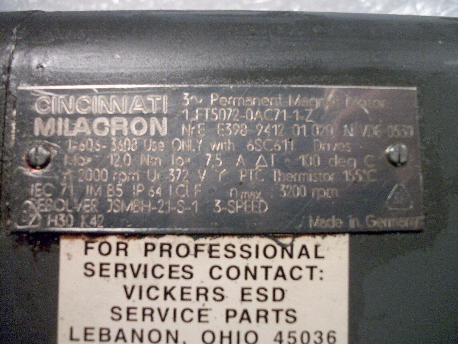 Siemens AC Servo Motor 1FT5072-0AC71-1-Z CMI Part# 1-606-3608