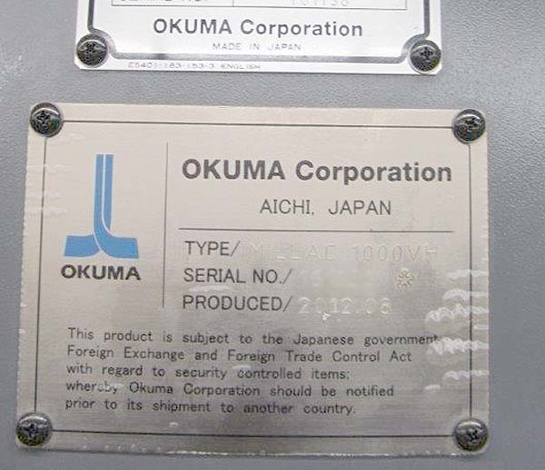 Okuma Millac 1000VH 5 Axis Machining Center