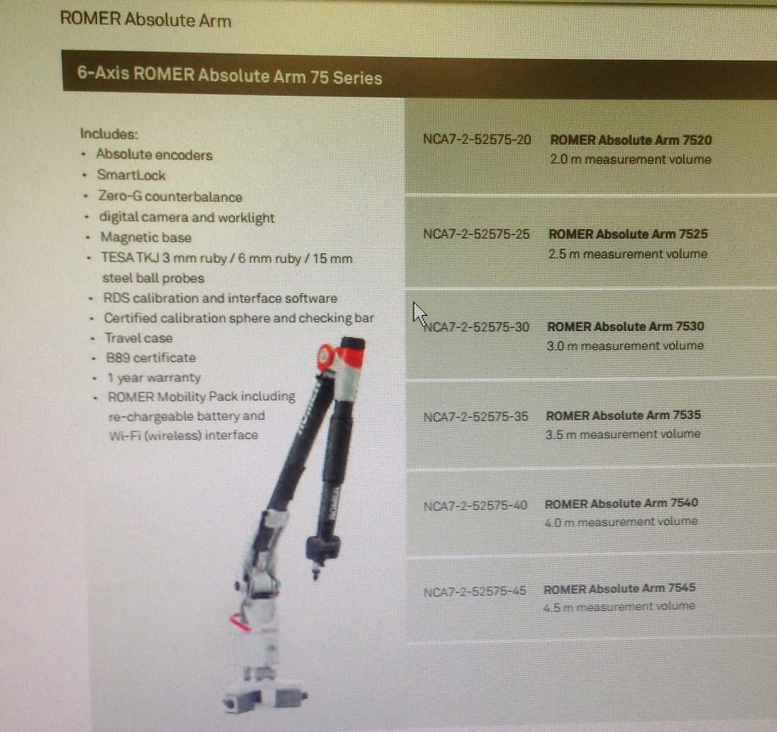 ROMER RA-7530 6-Axis Absolute Arm, Model RA-7530-UC, Portable CMM Arm, 3-Meter Measuring Reach, New 2012.